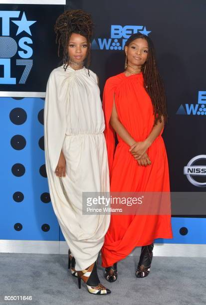 Chloe Bailey and Halle Bailey attend the 2017 BET Awards at Microsoft Theater on June 25 2017 in Los Angeles California