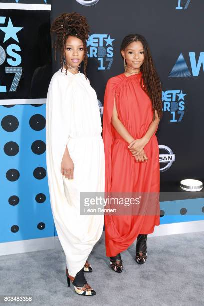 Chloe Bailey and Halle Bailey of Chloe x Halle arrives at the 2017 BET Awards at Microsoft Theater on June 25 2017 in Los Angeles California