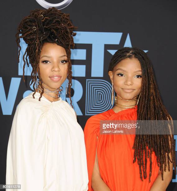 Chloe Bailey and Halle Bailey of Chloe X Halle attend the 2017 BET Awards at Microsoft Theater on June 25 2017 in Los Angeles California