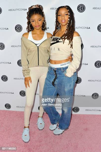 Chloe Bailey and Halle Bailey of Chloe x Halle attend the 5th Annual Beautycon Festival Los Angeles at Los Angeles Convention Center on August 13...