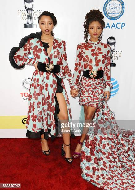 Chloe Bailey and Halle Bailey of Chloe X Halle attends the 48th NAACP Image Awards at Pasadena Civic Auditorium on February 11 2017 in Pasadena...