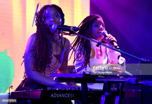 Chloe Bailey and Halle Bailey of Chloe x Halle perform during the YouTube @ SXSW showcase at the Coppertank during the 2017 SXSW Conference And...