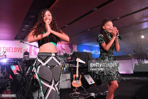 Chloe Bailey and Halle Bailey of Chloe x Halle perform onstage at 2017 Essence Festival at MercedesBenz Superdome on July 2 2017 in New Orleans...