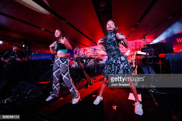 Chloe Bailey and Halle Bailey of Chloe x Halle perform onstage at the 2017 Essence Festival at the MercedesBenz Superdome on July 2 2017 in New...