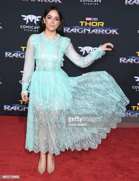 Chloe Bennet arrives at the Premiere Of Disney And Marvel's 'Thor Ragnarok' on October 10 2017 in Los Angeles California