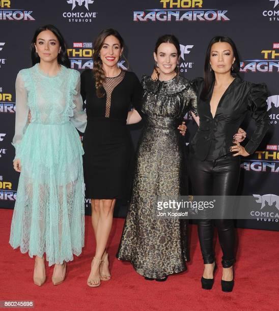 Chloe Bennet Natalia CordovaBuckley Elizabeth Henstridge and MingNa Wen arrive at the Los Angeles Premiere 'Thor Ragnarok' on October 10 2017 in...