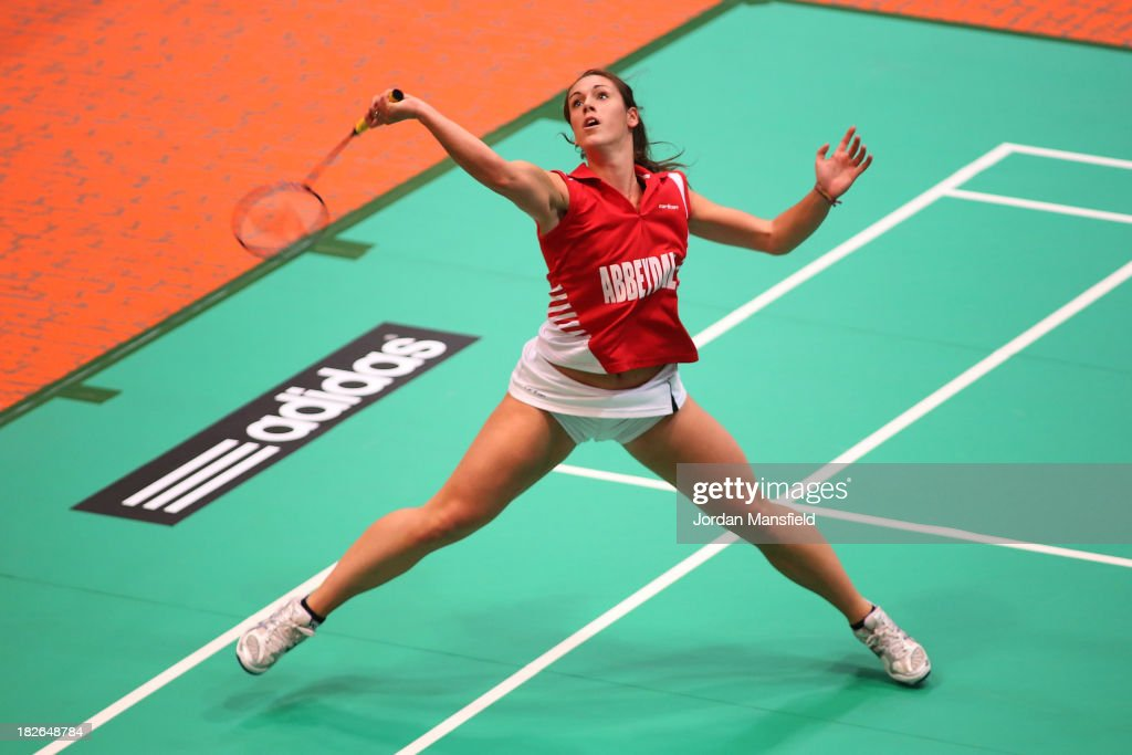 Chloe Birch of England in action in her womens singles match against Sarah Milne of England during Day Two of the London Badminton Grand Prix at The Copper Box on October 2, 2013 in London, England.
