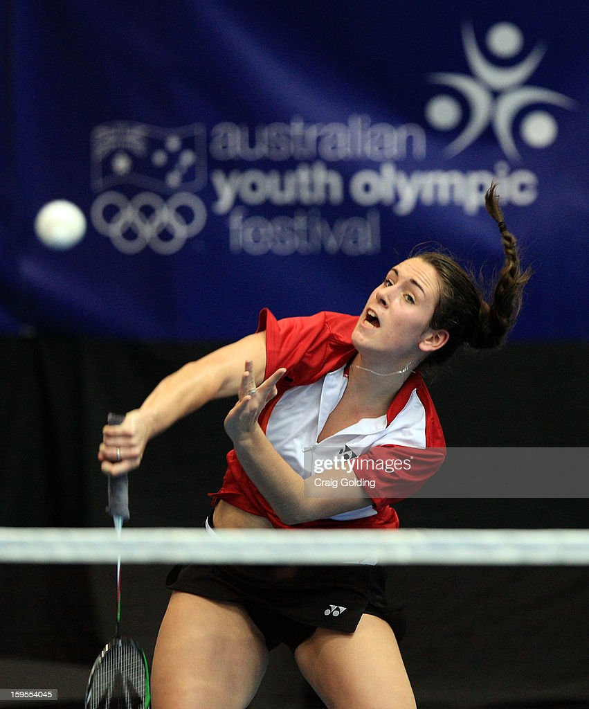 Chloe Birch of Team GB during the womens doubles badminton teams event on day one of the 2013 Australian Youth Olympic Festival in the Sports Halls at Sydney Olympic Park Sports Centre on January 16, 2013 in Sydney, Australia.