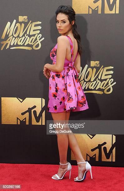 Chloe Bridges arrives at the 2016 MTV Movie Awards at Warner Bros Studios on April 9 2016 in Burbank California