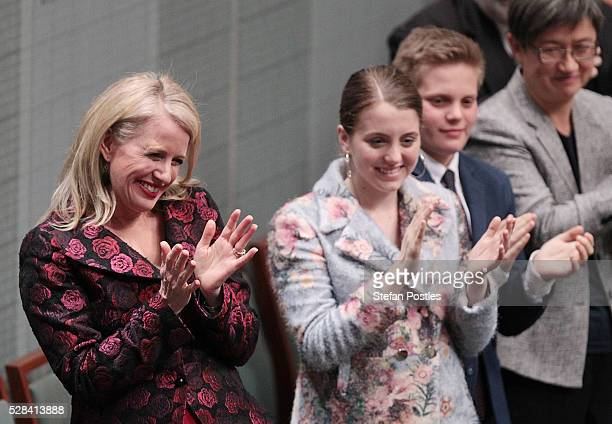 Chloe Bryce applauds her husband Opposition leader Bill Shorten after he delivered his budget reply speech on May 5 2016 in Canberra Australia The...