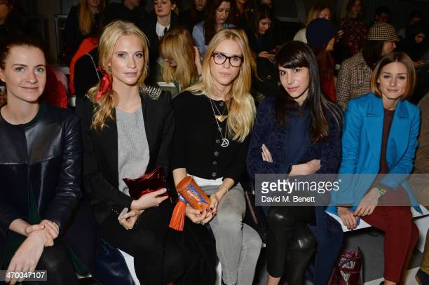 Chloe Delevingne Poppy Delevingne Mary Charteris Caroline Sieber and Olivia Palermo attend the Anya Hindmarch AW14 show at The Old Billingsgate on...