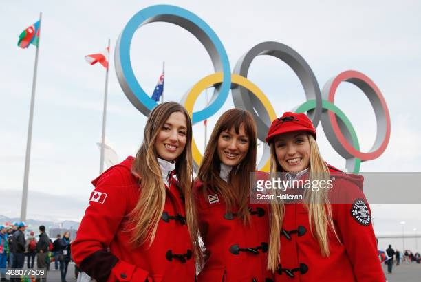 Chloe DufourLapointe Maxime DufourLapointe and Justine DufourLapointe of the Canadian freestyle skiing team pose in Olympic Park during the Sochi...