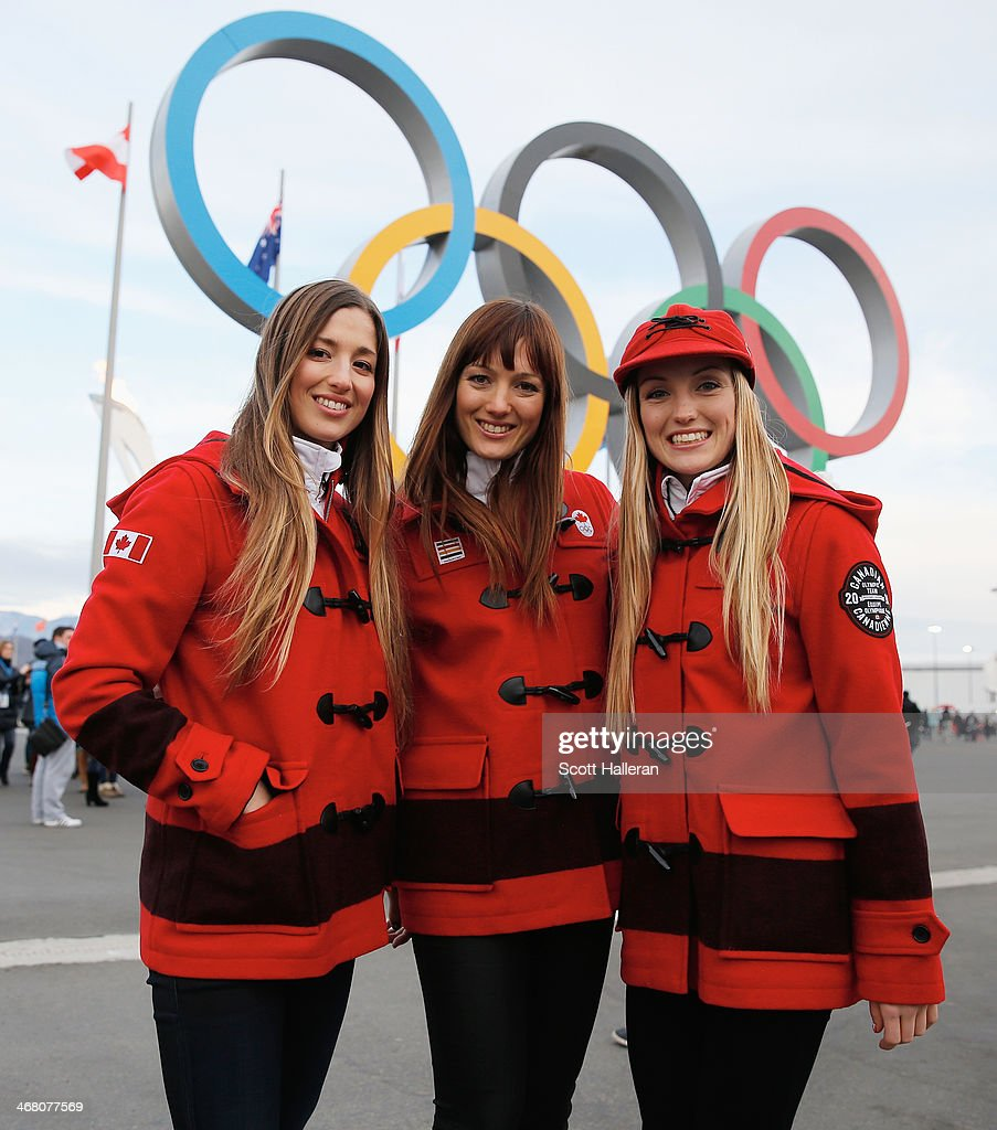 Chloe Dufour-Lapointe, Maxime Dufour-Lapointe and <a gi-track='captionPersonalityLinkClicked' href=/galleries/search?phrase=Justine+Dufour-Lapointe&family=editorial&specificpeople=7469946 ng-click='$event.stopPropagation()'>Justine Dufour-Lapointe</a> of the Canadian freestyle skiing team pose in Olympic Park during the Sochi 2014 Winter Olympics on February 9, 2014 in Sochi, Russia.