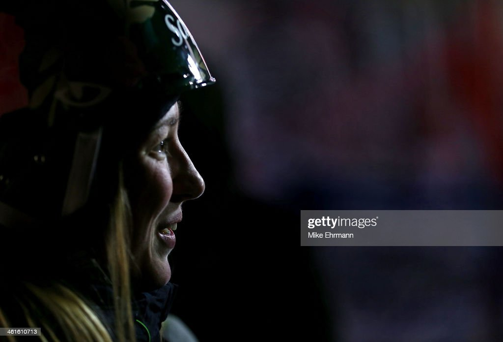 Chloe Dufour-Lapointe of Canada gives an interview during Finals for Womens Moguls at the 2014 FIS Freestyle Ski World Cup at Deer Valley on January 9, 2014 in Park City, Utah.