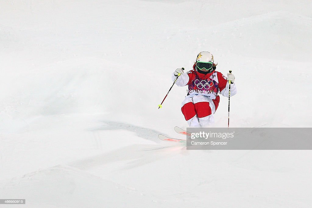 Chloe Dufour-Lapointe of Canada trains during moguls practice at the Extreme Park at Rosa Khutor Mountain ahead of the Sochi 2014 Winter Olympics on February 5, 2014 in Sochi, Russia