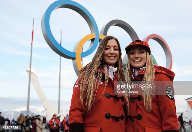 Chloe DufourLapointeand Justine DufourLapointe of the Canadian freestyle skiing team pose in Olympic Park during the Sochi 2014 Winter Olympics on...