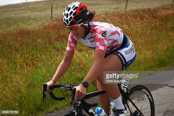 Chloe Dygert of the United States in the best young rider jersey rides during stage three of the Amgen Breakaway from Heart Disease Women's Race on...