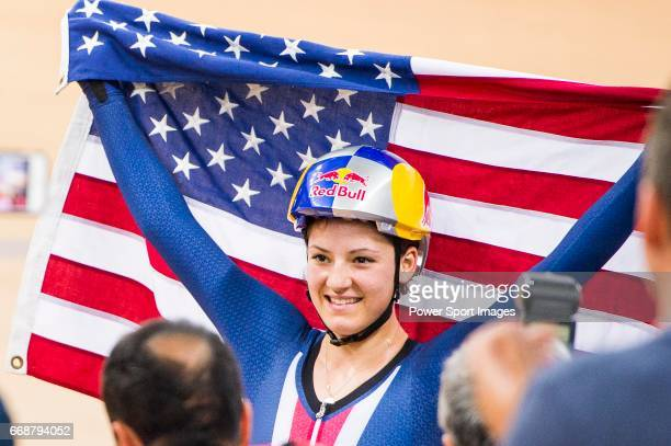 Chloe Dygert of USA celebrates winning in the Women's Individual Pursuit Finals during 2017 UCI World Cycling on April 15 2017 in Hong Kong Hong Kong