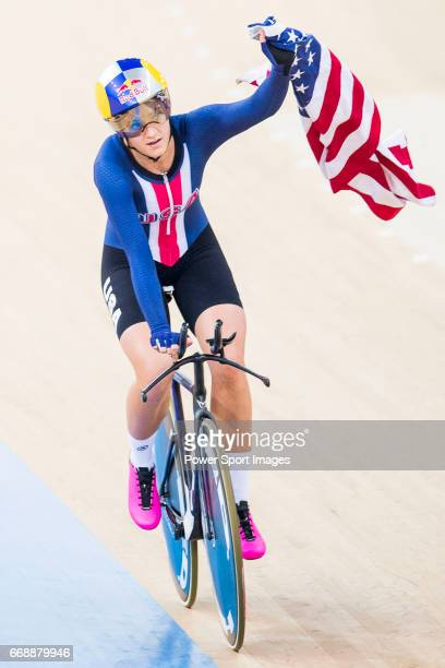 Chloe Dygert of USA celebrates winning the Women's Individual Pursuit Finals during 2017 UCI World Cycling on April 15 2017 in Hong Kong Hong Kong
