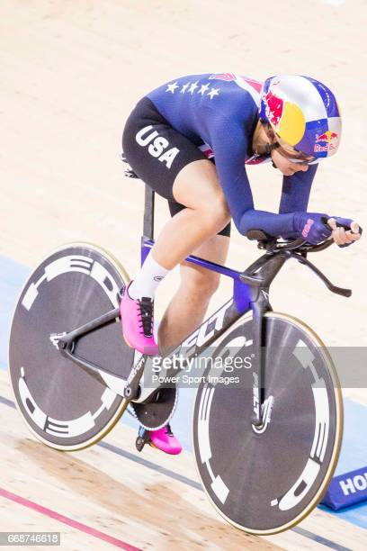 Chloe Dygert of USA competes in the Women's Individual Pursuit Qualifying during 2017 UCI World Cycling on April 15 2017 in Hong Kong Hong Kong