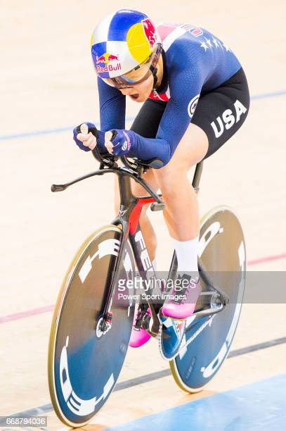 Chloe Dygert of USA competes in the Women's Individual Pursuit Finals during 2017 UCI World Cycling on April 15 2017 in Hong Kong Hong Kong