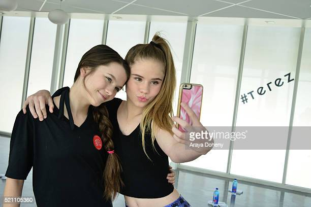 Chloe East and Lexee Smith attend Terez x SatiLife present Link Together Lead Together Los Angeles at Annenberg Beach House on April 13 2016 in Santa...