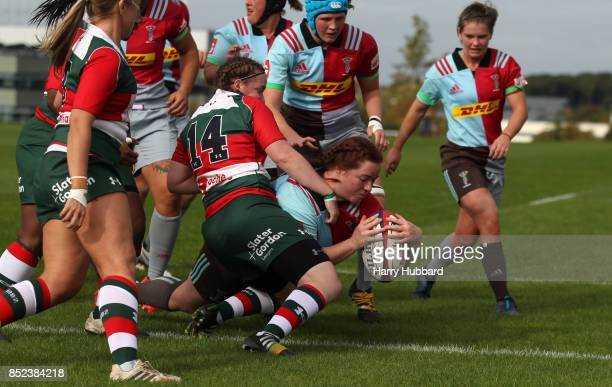 Chloe Edwards of Harlequins Ladies scores a try during the Tyrrells Premier 15s match between Harlequins Ladies and Firwood Waterloo Ladies at Surrey...
