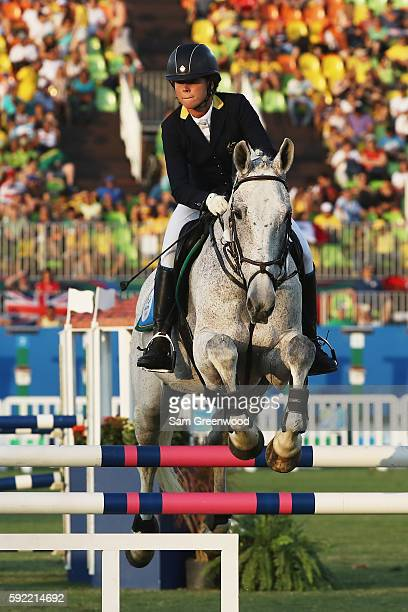 Chloe Esposito of Australia competes during the Women's Riding Modern Pentathlon on Day 14 of the Rio 2016 Olympic Games at the Deodoro Stadium on...