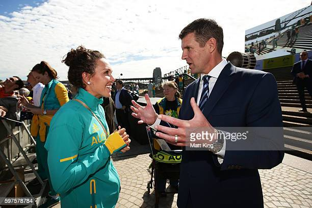 Chloe Esposito talks to NSW Premier Mike Baird during the Australian Olympic Team Welcome Home Celebration at Sydney Opera House on August 29 2016 in...
