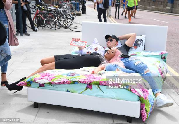 Chloe Ferry and Scotty T attend the Geordie Shore series 15 'Shag Pad on Tour ' cast launch at Tower Bridge on August 16 2017 in London England