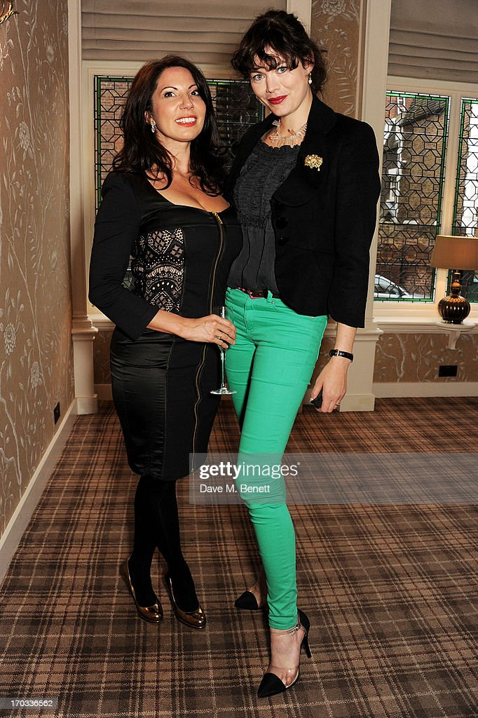 Chloe Franses (L) and Jasmine Guinness attend a private dinner previewing the new 'Alex James Presents' Blue Monday cheese at The Cadogan Hotel on June 11, 2013 in London, England.