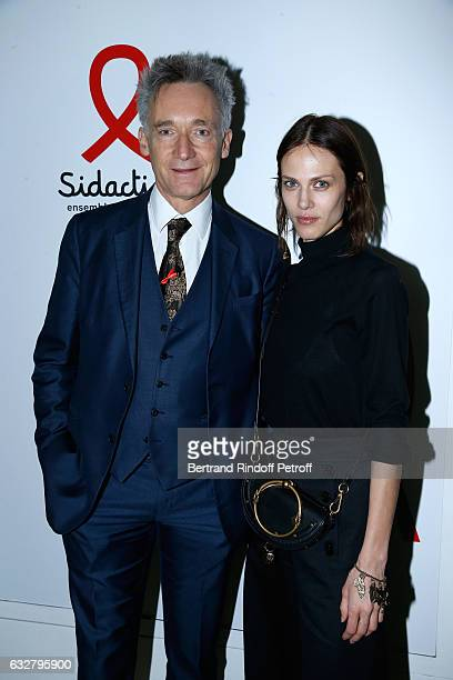 CEO Chloe Geoffroy de la Bourdonnaye and Aymeline Valade attend the Sidaction Gala Dinner 2017 Haute Couture Spring Summer 2017 show as part of Paris...