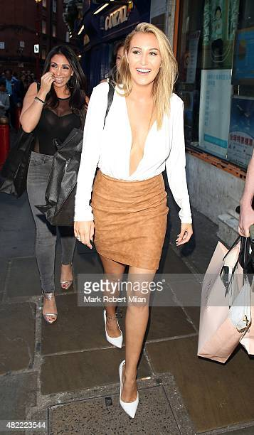 Chloe Goodman attending the Macmillan Cancer Support's oneoff blowdry bar on July 28 2015 in London England