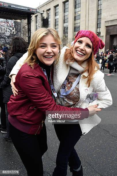Chloe Grace Moretz and Jessica Chastain attend the rally at the Women's March on Washington on January 21 2017 in Washington DC