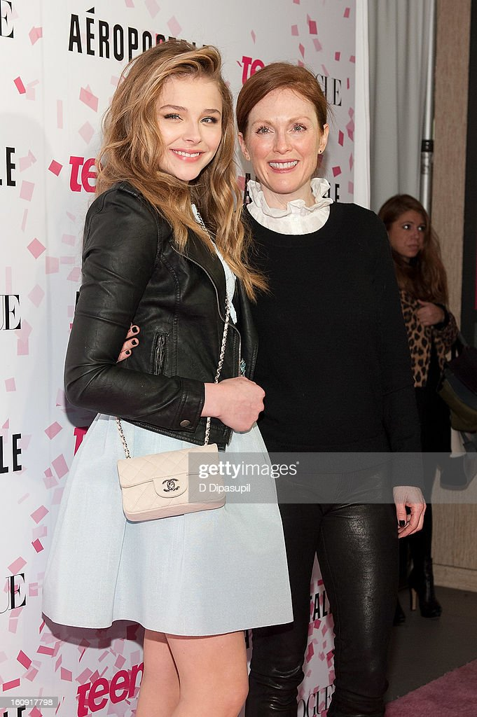 Chloe Grace Moretz (L) and Julianne Moore attend the Teen Vogue 10th Anniversary and Chloe Grace Moretz Sweet 16 Celebration at Aeropostale Times Square on February 7, 2013 in New York City.