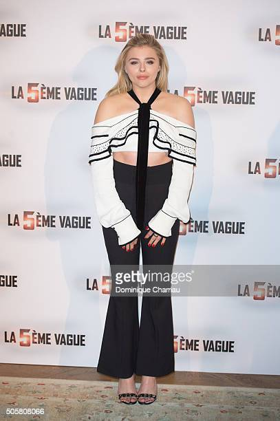 Chloe Grace Moretz attends 'The 5th Wave' Paris Photocall at Hotel Le Bristol on January 20 2016