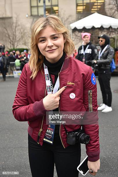 Chloe Grace Moretz attends the Women's March on Washington on January 21 2017 in Washington DC