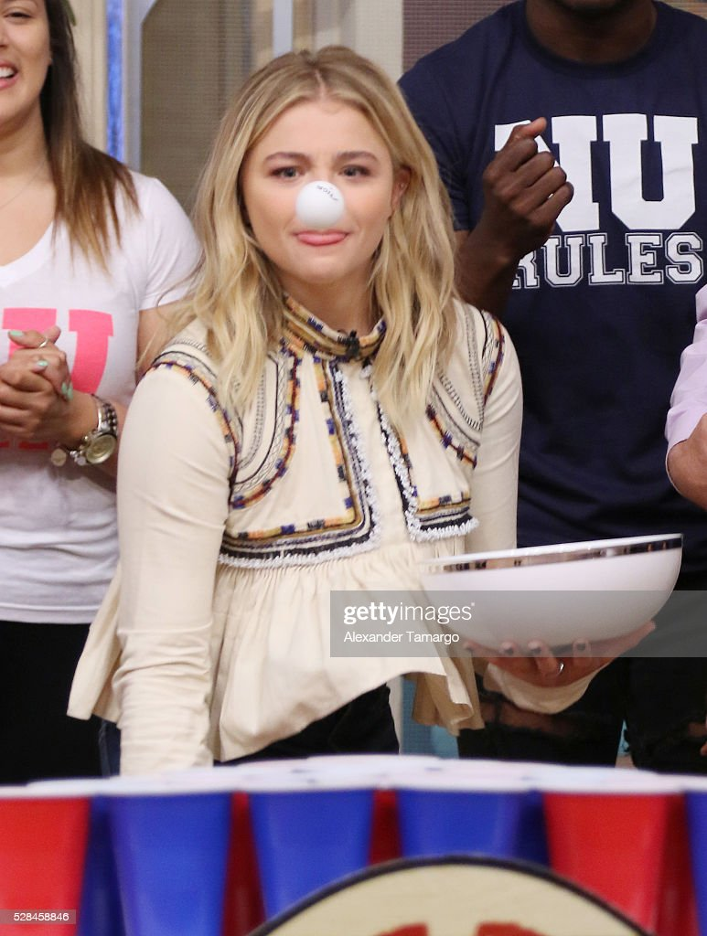 <a gi-track='captionPersonalityLinkClicked' href=/galleries/search?phrase=Chloe+Grace+Moretz&family=editorial&specificpeople=856948 ng-click='$event.stopPropagation()'>Chloe Grace Moretz</a> is seen on the set of 'Despierta America' to promote the film 'Neighbors 2 Sorority Rising' at Univision Studios on May 5, 2016 in Miami, Florida.