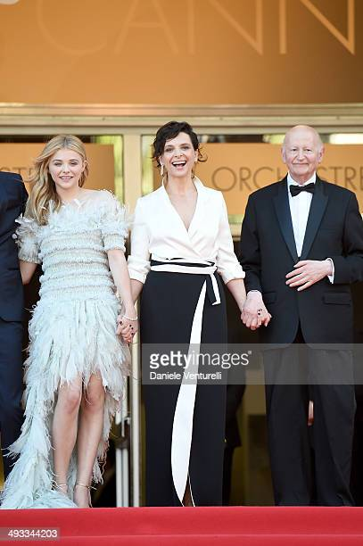 Chloe Grace Moretz Juliette Binoche and Gilles Jacob attend the 'Clouds Of Sils Maria' Premiere during the 67th Annual Cannes Film Festival on May 23...