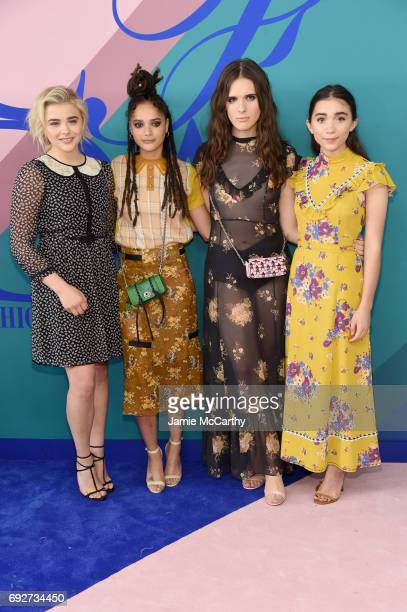 Chloe Grace Moretz Sasha Lane Hari Nef and Rowan Blanchard attend the 2017 CFDA Fashion Awards Cocktail Hour at Hammerstein Ballroom on June 5 2017...
