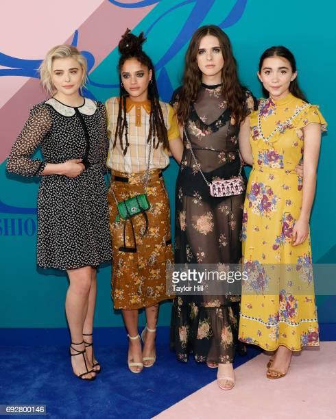 Chloe Grace Moretz Sasha Lane Hari Nef and Rowan Blanchard attend the 2017 CFDA Fashion Awards at Hammerstein Ballroom on June 5 2017 in New York City