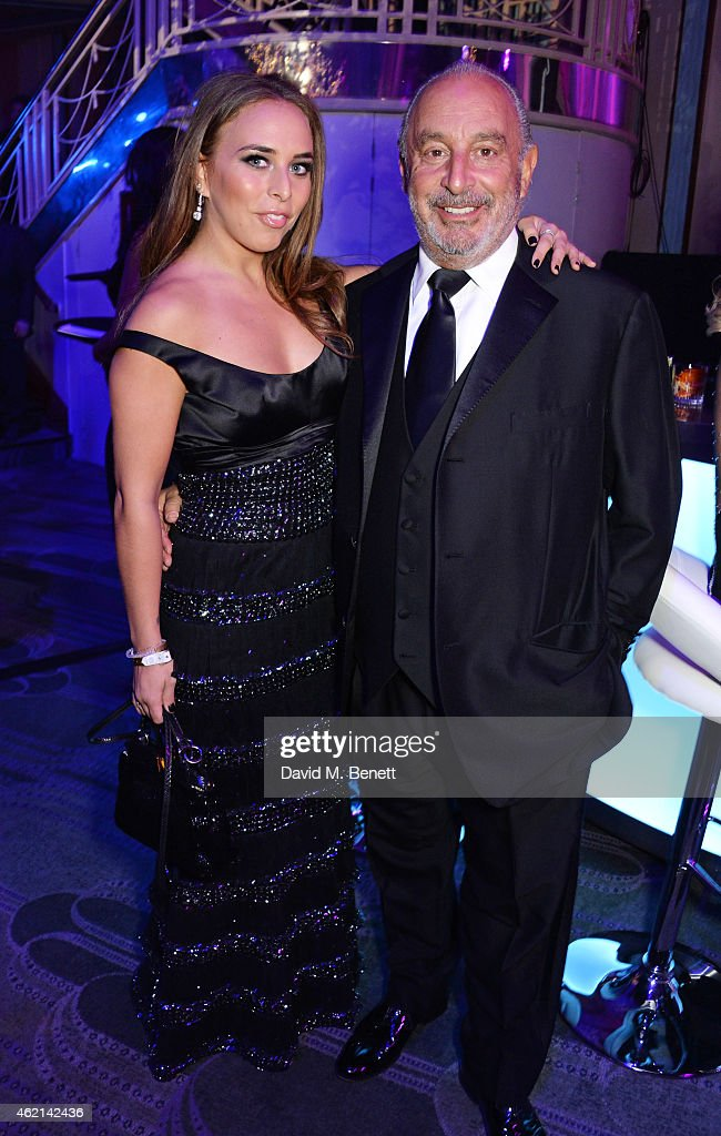 Chloe Green and Sir Philip Green attend Lisa Tchenguiz's 50th birthday party at the Troxy on January 24 2015 in London England