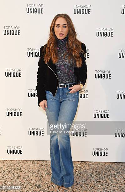 Chloe Green arrives at the Topshop Unique LFW AW16 show at The Tate Britain on February 21 2016 in London England