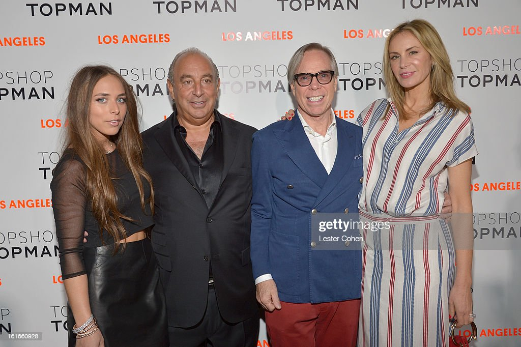 Chloe Green, proprietor Sir Philip Green, fashion designer Tommy Hilfiger and Dee Ocleppo arrive at the Topshop Topman LA Opening Party at Cecconi's West Hollywood on February 13, 2013 in Los Angeles, California.