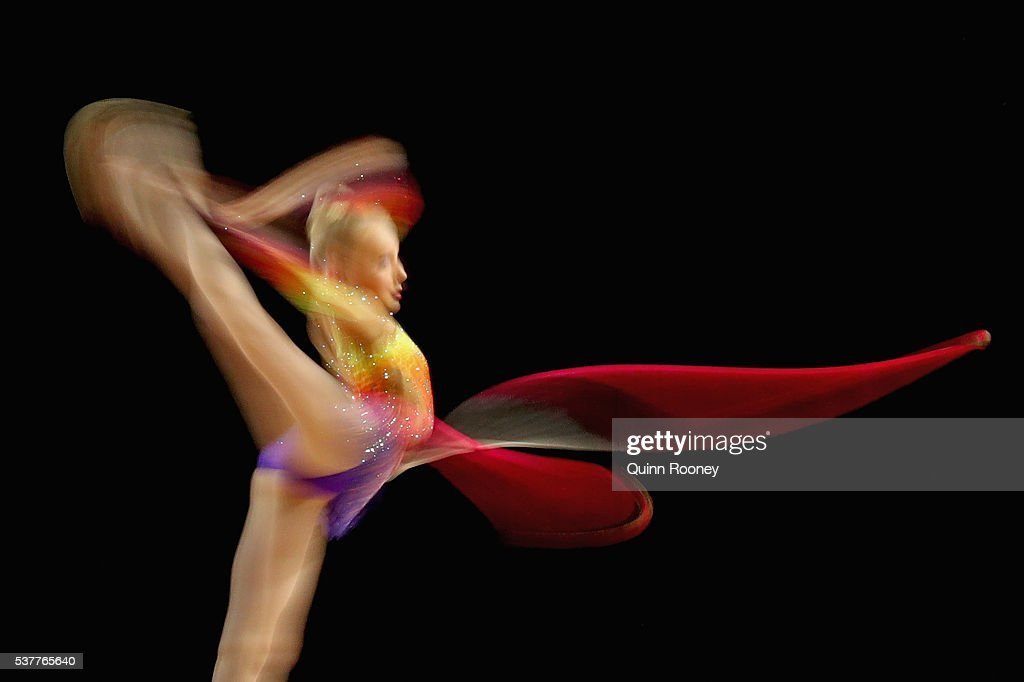 Chloe Hay of Victoria competes with the rope in the rhythmic gymnastics during the 2016 Australian Gymnastics Championships at Hisense Arena on June...