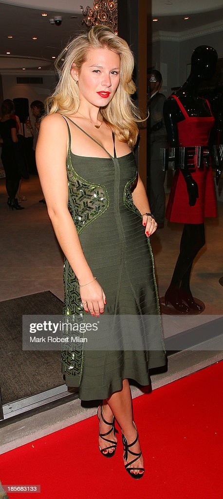 Chloe Hayward attending the Herve Leger by Max Azria Barbie doll launch on October 23, 2013 in London, England.