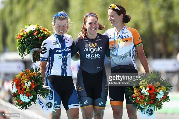 Chloe Hosking of Australia and Team Wiggle High5 finishing first Marianne Vos of The Netherlands and Raboliv Womencyclingteam finishing second and...