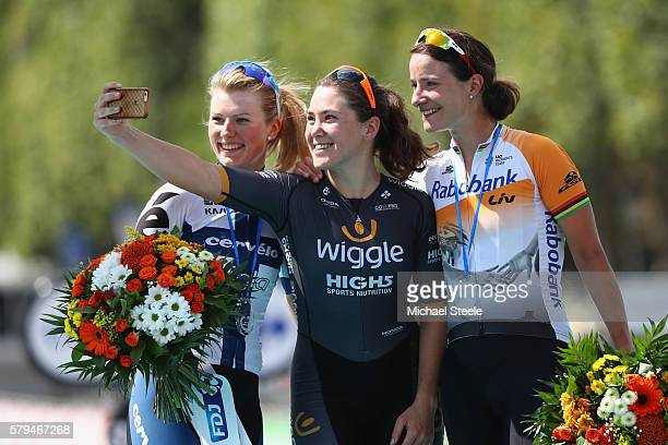 Chloe Hosking of Australia and Team Wiggle High5 takes a selfie with Marianne Vos of The Netherlands and Raboliv Womencyclingteam and Lotta Lepisto...