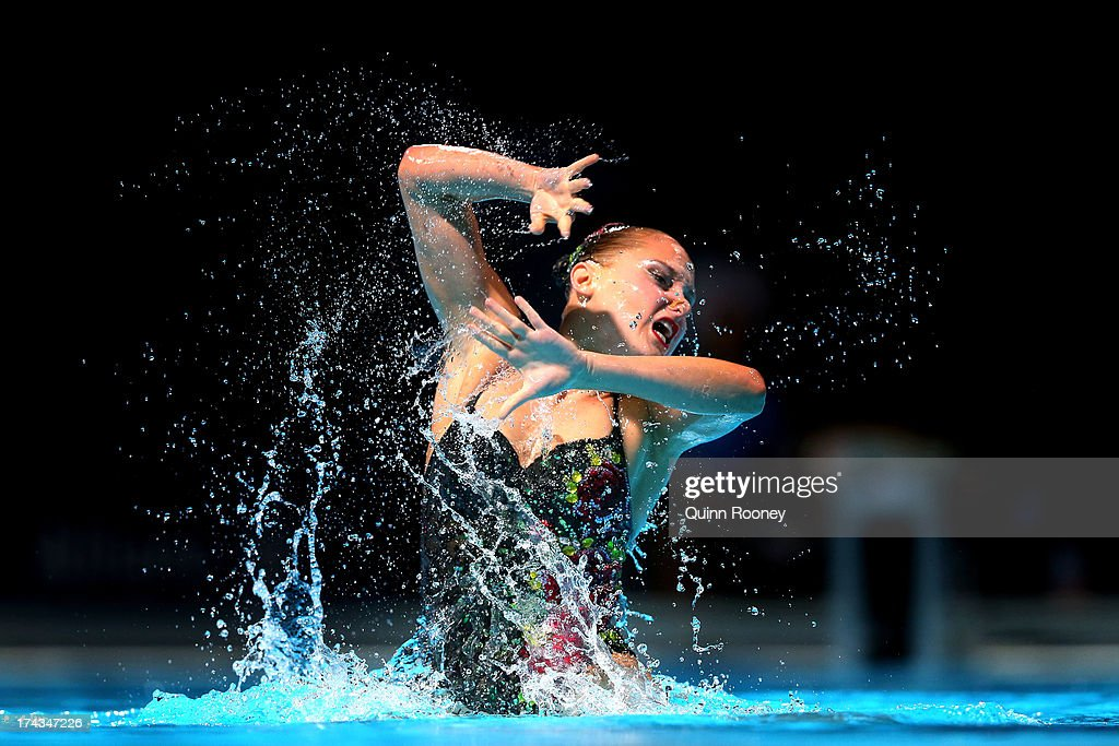 <a gi-track='captionPersonalityLinkClicked' href=/galleries/search?phrase=Chloe+Isaac&family=editorial&specificpeople=5990701 ng-click='$event.stopPropagation()'>Chloe Isaac</a> of Canada competes in the Synchronized Swimming Solo Free final on day five of the 15th FINA World Championships at Palau Sant Jordi on July 24, 2013 in Barcelona, Spain.