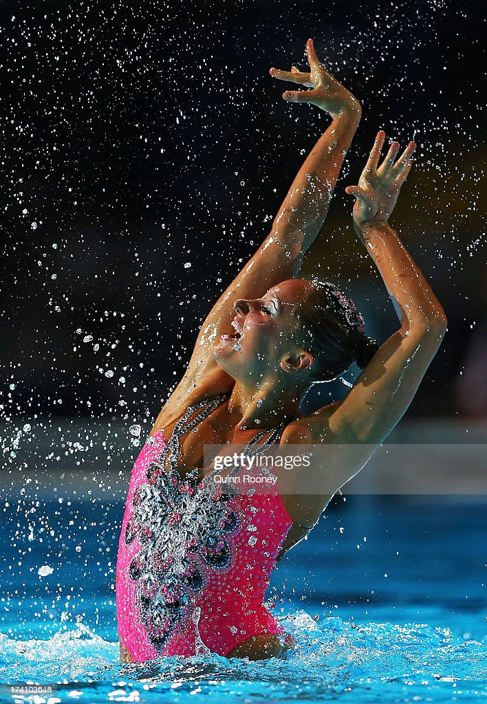 <a gi-track='captionPersonalityLinkClicked' href=/galleries/search?phrase=Chloe+Isaac&family=editorial&specificpeople=5990701 ng-click='$event.stopPropagation()'>Chloe Isaac</a> of Canada competes in the Synchronized Swimming Solo Technical final on day one of the 15th FINA World Championships at Palau Sant Jordi on July 20, 2013 in Barcelona, Spain.